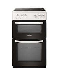 Hotpoint HD5V92KCW 50cm Wide Electric Twin Cavity Single Oven Cooker - White Best Price, Cheapest Prices