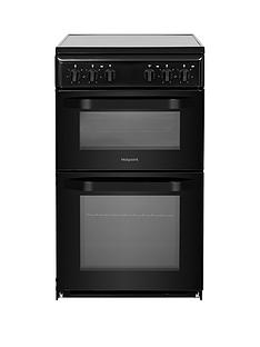 Hotpoint HD5V92KCB 50cmWide Electric Twin Cavity Single Oven Cooker - Black