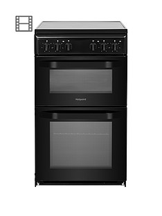 Hotpoint HD5V92KCB 50cm Wide Electric Twin Cavity Single Oven Cooker - Black Best Price, Cheapest Prices