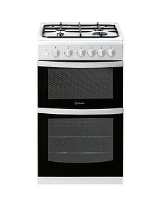 Indesit ID5G00KMWL 50cm Gas Double Oven Cooker without Grill - White