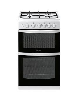 indesit-id5g00kmwl-50cm-gas-double-oven-cooker-without-grill-white