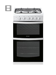 indesit-id5g00kmwl-50cm-twin-cavity-gas-cooker-without-grill-white