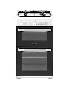Hotpoint HD5G00KCW 50cm Wide Gas Double Oven Cooker - White
