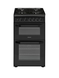 Hotpoint HD5G00KCB 50cm Wide Gas Double Oven Cooker - Black
