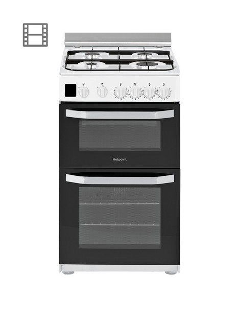 hotpoint-hd5g00ccw-50cmnbspwide-gas-double-oven-cooker-white