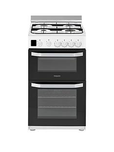 Hotpoint HD5G00CCW 50cm Wide Gas Double Oven Cooker - White