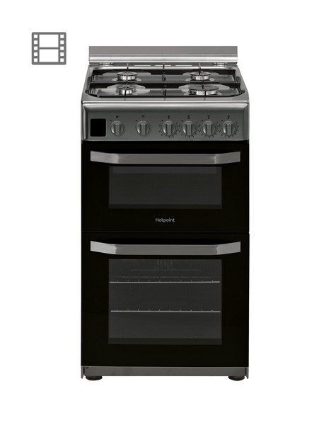 hotpoint-hd5g00ccx-50cmnbspwide-gas-double-oven-cooker-stainless-steel