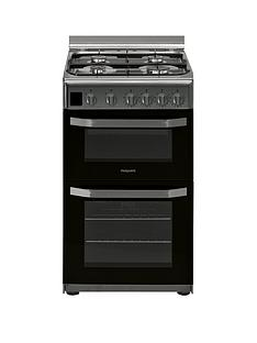 Hotpoint HD5G00CCX 50cm Wide Gas Double Oven Cooker - Stainless Steel