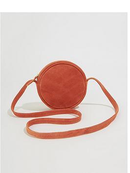 warehouse-suede-mini-circle-bag-orange