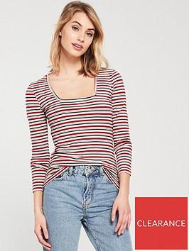 v-by-very-stripped-square-neck-top
