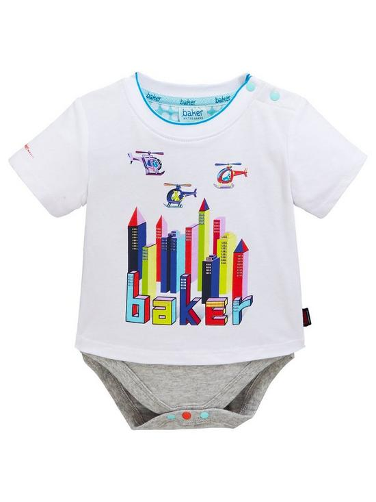 41bd4b20a379 Baker by Ted Baker Baby Boys City Short Sleeve T Shirt Body Suit - White. £ 18