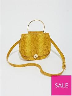 warehouse-snake-mini-metal-handle-cross-body-bag-yellow
