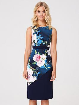 paper-dolls-contrast-waist-bodycon-dress-floral-print