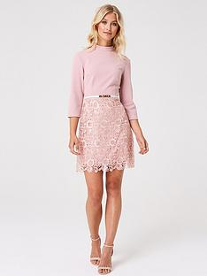 cd2b0d423341 Paper Dolls 2 In 1 Crochet Skirt Skater Dress - Blush
