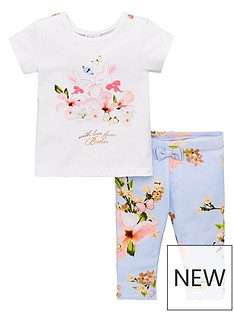 cc61dcff1b90 Baker by Ted Baker Baby Girls Pleat Back T-shirt And Legging Set - Light  Blue