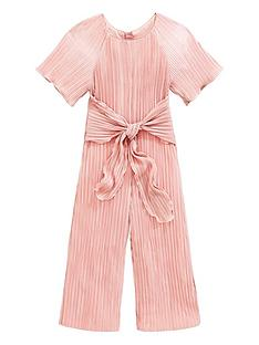 fd849effcd03f Baker by Ted Baker Girls Plisse Tie Front Jumpsuit - Gold
