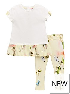 569ab6135f086 Baker by Ted Baker Toddler Girls Plisse Hem T-shirt And Legging Set - Yellow