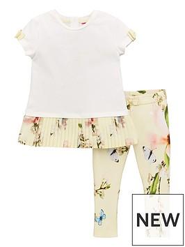 dbfd1123f Baker by Ted Baker Toddler Girls Plisse Hem T-shirt And Legging Set - Yellow