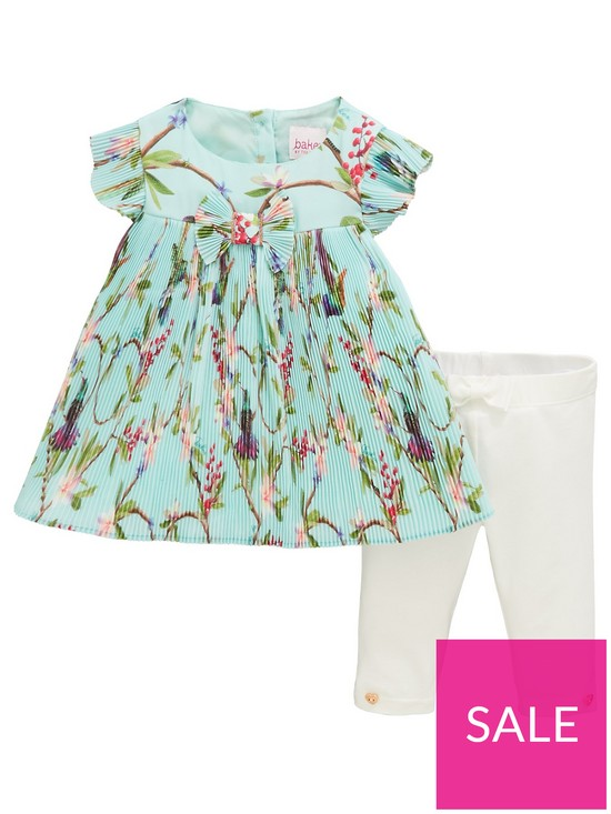 f1ed8737926b0 Baker by Ted Baker Baby Girls Floral Plisse Top & Legging Outfit - Light  Green