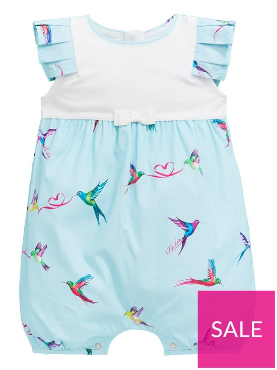 b02f9a32cfbcb Baker by Ted Baker Baby Girls Short Woven Romper Suit - Light Green ...
