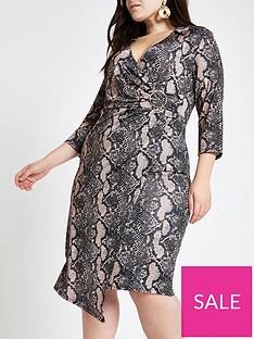 37e1a9288903 RI Plus Ri Plus Animal Print Jersey Wrap Midi Dress - Beige