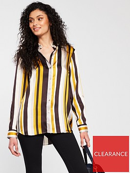 river-island-river-island-stripe-oversized-woven-shirt-brown