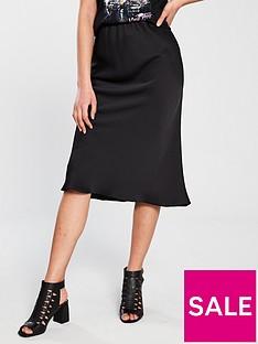 c46156ff74 River Island Satin Midi Skirt - Black