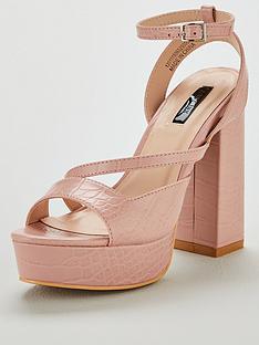 ebae7f5327ad Lost Ink Raquel Square Cut Platform Heeled Sandals - Blush