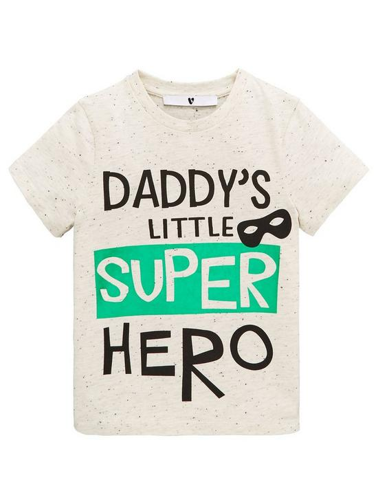 da471ed0e Mini V by Very Boys 'Daddy Is My Super Hero' Foil T-Shirt - Grey ...