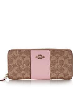 coach-accordion-colour-block-canvas-signature-zip-purse-tan