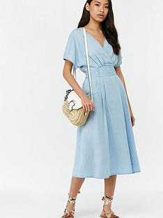 8a6d0f7f7d4 Monsoon Talia Tencel Midi Dress - Blue
