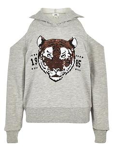 d77660dc6b River Island Girls sequin tiger cold shoulder hoodie - grey