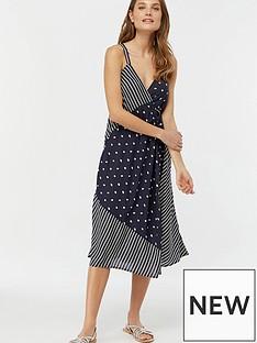 Monsoon Eliza Dot Wrap Print Dress - Navy 986cc22e1cec