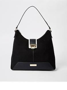 dc5a5bed97 River Island River Island Lock Front Slouch Bag - Black