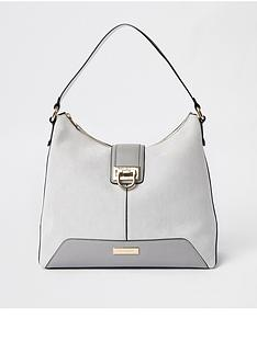 a202ece5a58f River Island River Island Lock Front Slouch Bag - Grey