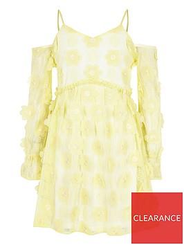 river-island-girls-flower-cold-shoulder-dress-yellow