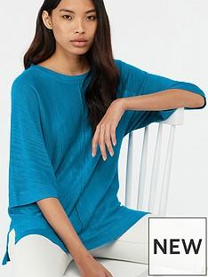 monsoon-corina-linen-blend-split-hem-jumper-blue