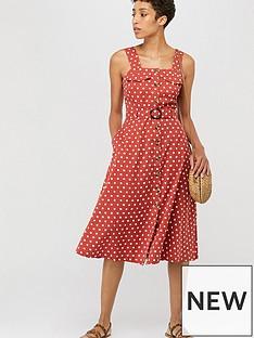 1f8274d5b6f Monsoon Liza Spot Midi Pinnie Dress - Rust