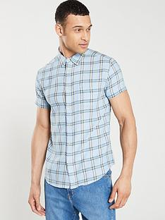wrangler-checked-one-pocket-short-sleeved-shirt-cerulean