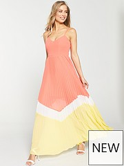 d8aeba25a4 V by Very Pleated Colour Block Maxi Dress - Coral/Yellow