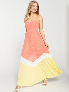 8a60bf4c V by Very Pleated Colour Block Maxi Dress - Coral/Yellow