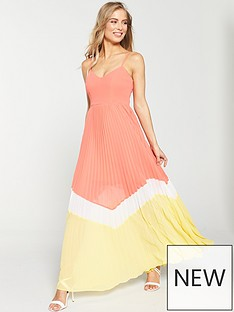 00d99e38f3932 V by Very Pleated Colour Block Maxi Dress - Coral/Yellow