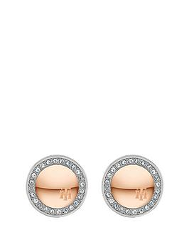 tommy-hilfiger-silver-and-rose-gold-crystal-set-circle-stud-ladies-earrings