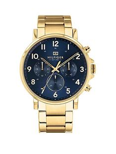 8c8da5c35f7b7b Tommy Hilfiger Daniel Blue and Gold Detail Chronograph Dial Gold Stainless  Steel Bracelet Mens Watch