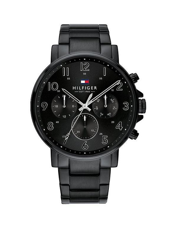 Veröffentlichungsdatum: neues Konzept Ausverkauf Tommy Hilfiger Black Chronograph Dial Black IP Stainless Steel Bracelet  Mens Watch