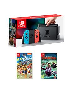 nintendo-switch-neon-console-with-paw-patrol-on-a-roll-and-dreamworks-dragons-dawn-of-new-riders