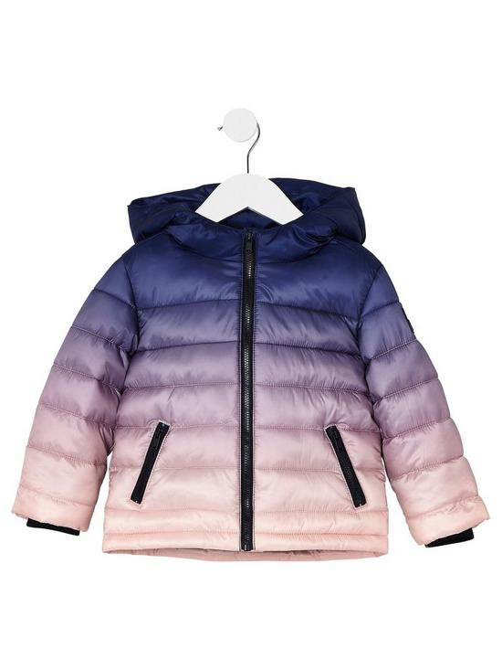 cb3a2d686617 River Island Mini Mini Boys Navy Ombre Padded Jacket