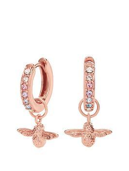 olivia-burton-olivia-burton-18kt-rose-gold-rainbow-bee-swarovski-crystal-huggie-charm-earrings