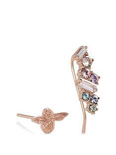 olivia-burton-olivia-burton-18kt-rose-gold-plated-rainbow-bee-swarovski-crystal-crawler-stud-earrings