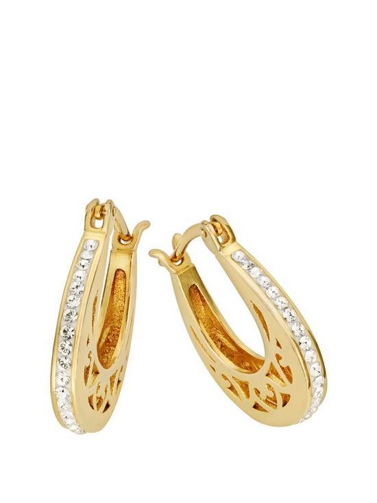 267cd1064 Evoke Gold Plated Sterling Silver Swarovski Crystal Filigree Hoop Creole  Earrings